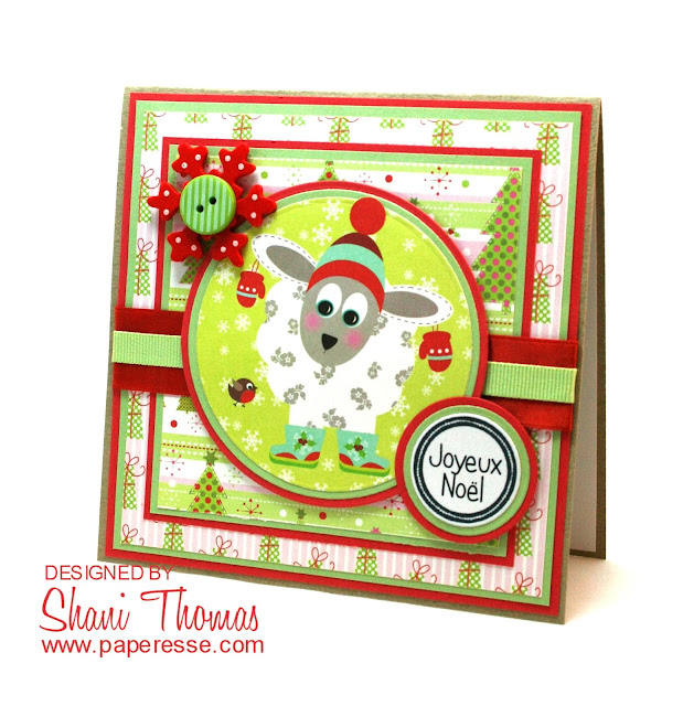 Lamb Christmas card, featuring Papermania Festive Frolics topper, by Paperesse.