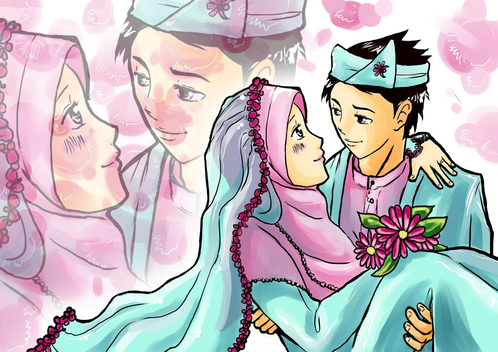Gambar Kartun Muslimah Berpasangan Bergerak Design Kartun