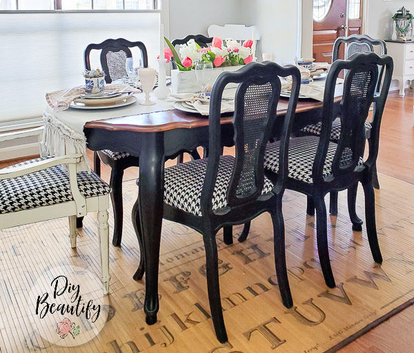 Chalky Painted Furniture, Black Chalk Paint Dining Room Table