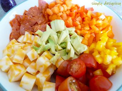 pasta salad ingredients chopped 1 Zesty Avocado Pasta Salad + Giveaway! #GetZesty #giveaway #sponsored 17