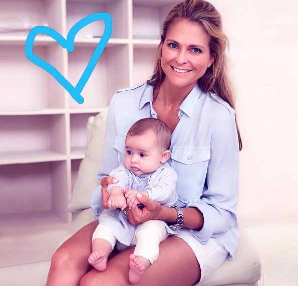 New photo of Princess Adrienne. Princess Madeleine wore Stella McCartney short sleeve military shirt