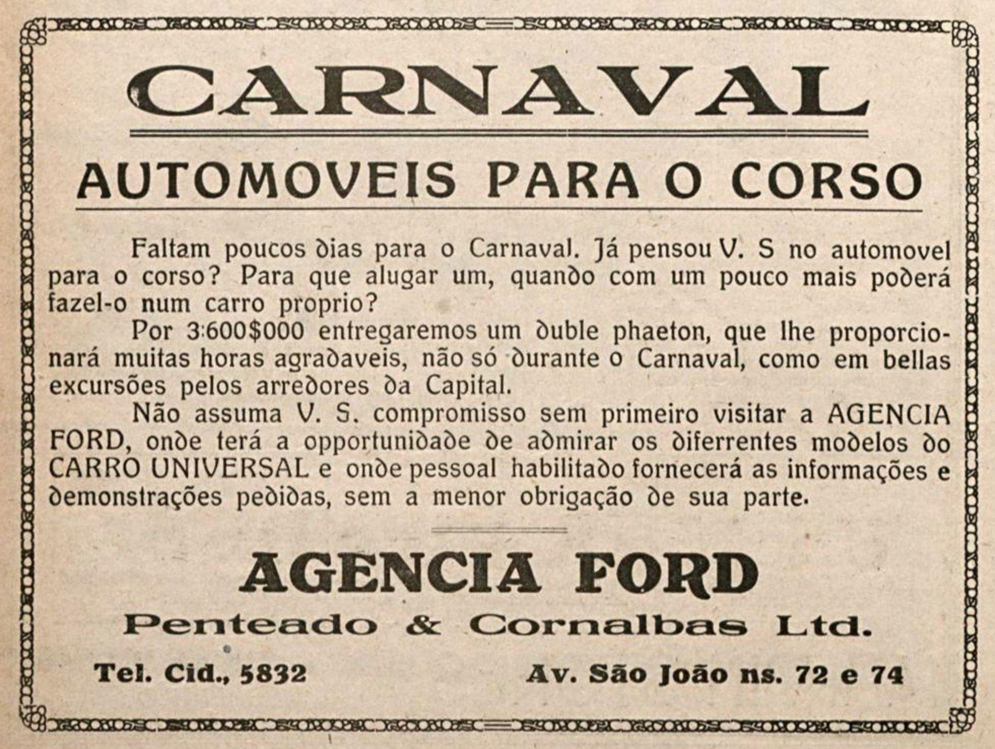 Anúncio de 1920 da agência Ford promovendo automóveis para o corso do carnaval