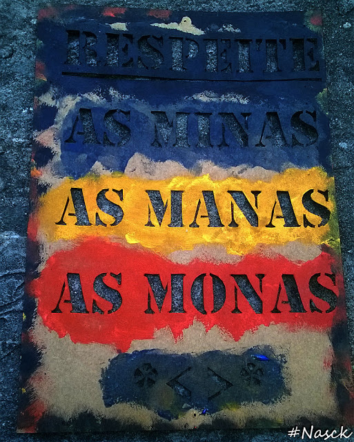 Stencil Respeite as Minas as Manas as Monas corte equadramento na parede