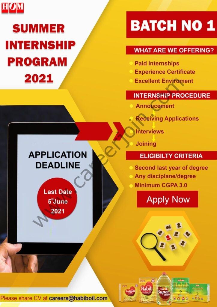 Habib Oil Mills HOM Summer Internship Program 2021 in Pakistan