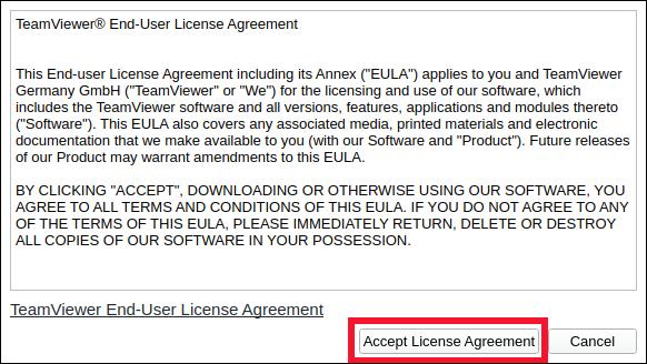 """انقر فوق """"قبول اتفاقية الترخيص""""."""