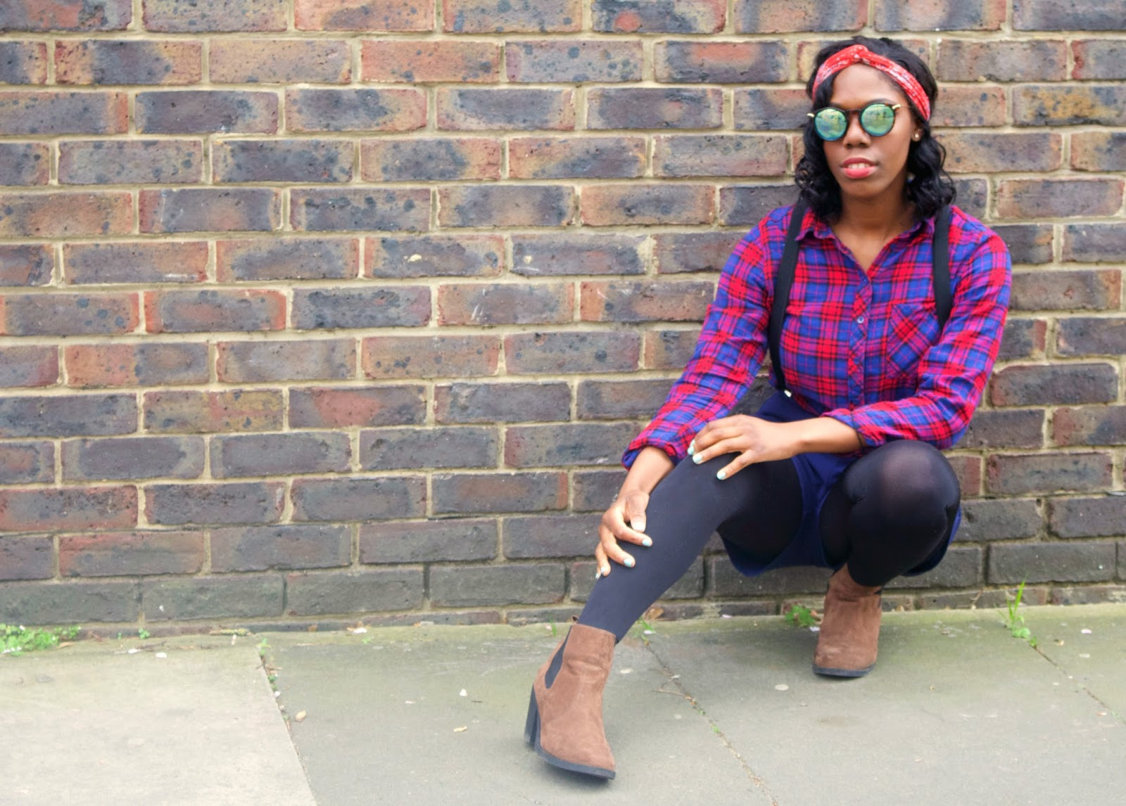 The Post Blogging Event Comedown, H&M checked shirt, H&M Red headband, ASOS green sunglasses, missguided navy high waisted shorts, black topshop braces, style blogger, fashion blogger, brick wall, uk blogger, black girls who blog, black girl magic, 100 ways to 30 Blog