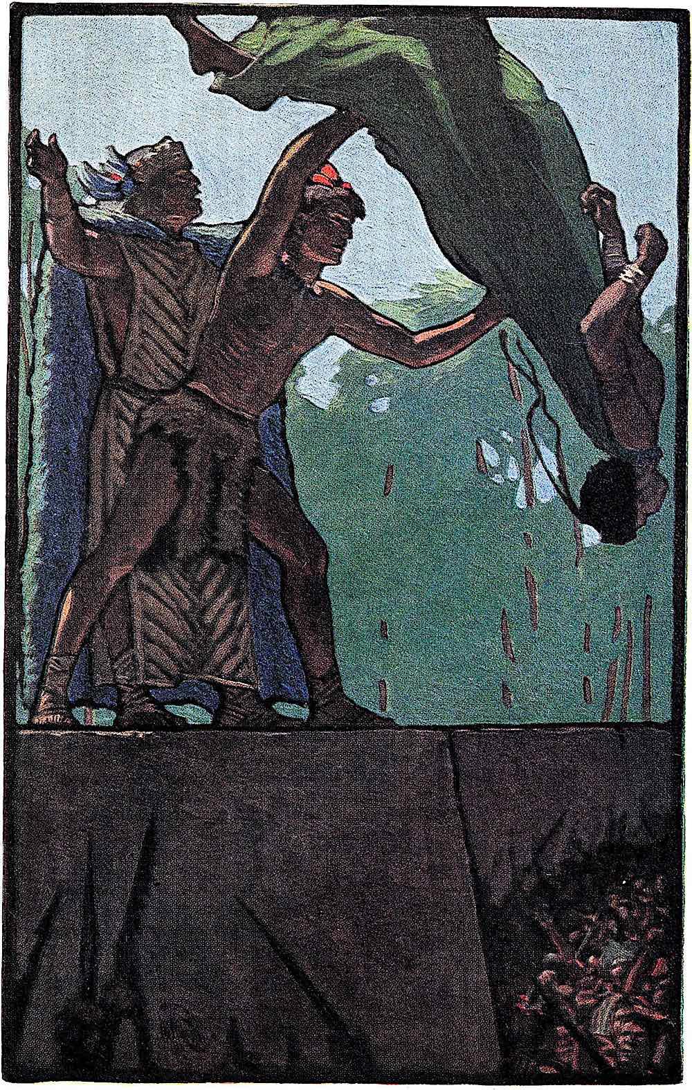 a Maynard Dixon illustration 1906, human sacrifice religion