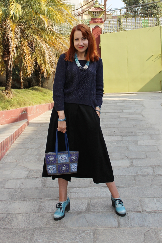 Lurex navy blue sweater worn with vintage skirt and glass beads accessories