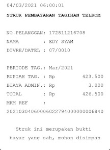Contoh Printout Tagihan Telkom