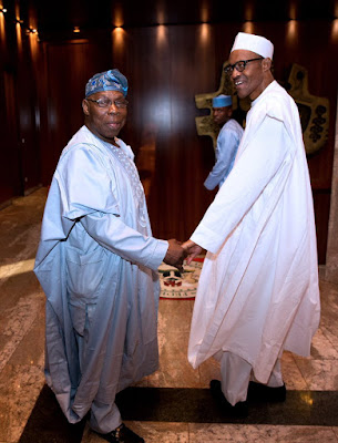 Former President Obasanjo visited this afternoon. Always a pleasure to discuss Governance & national issues with him