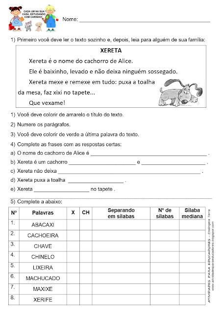 Texto XERETA e palavras com X ou CH jpg
