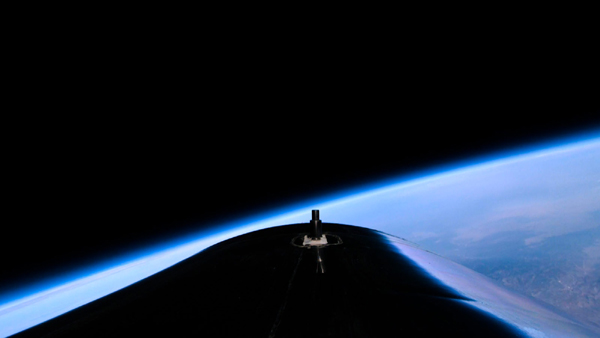 A remote camera image, which was taken from the top of VSS Unity's fuselage, showing the vehicle near the edge of space.
