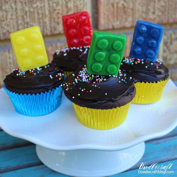 Lego lollipops on cupcakes, perfect for a lego themed birthday party