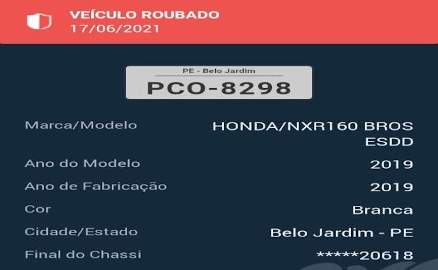 Dupla em moto rouba motocicleta na cohab em Belo Jardim, PE
