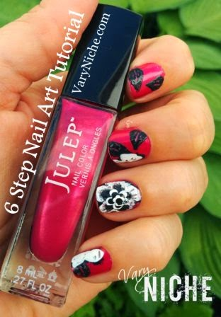 Finger Nail Art Design: Black & White Flower & Leaves on Fuschia Background