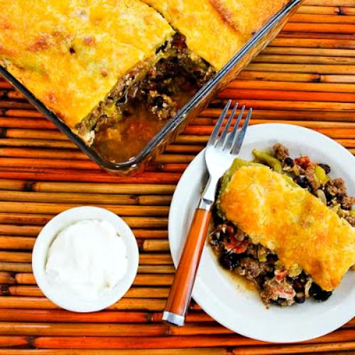 Spicy Green Chile Mexican Casserole with Ground Beef, Black Beans, and Tomatoes from KalynsKitchen.com