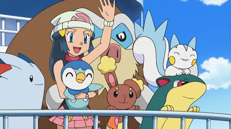 Dawn e seus Pokémon viajando para Hoenn