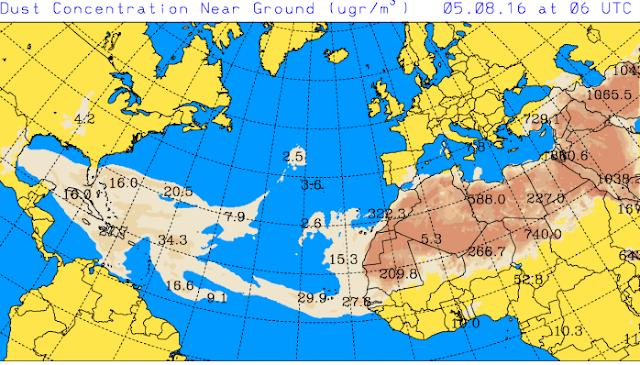Y la calima acompañara a las altas temperaturas previstas para el viernes 5 y sábado 6 de agosto en Canarias