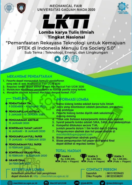 Lomba Karya Tulis Ilmiah Mechanical Fair Universitas Gadjah Mada 2020