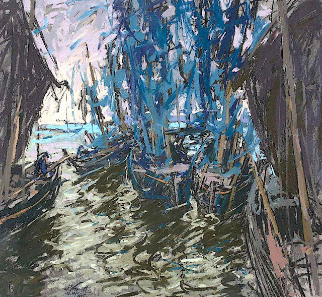 a Charles Henry Fromuth 1935 painting of a boat with blue sails