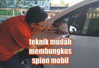 pasang sticker spion mobil
