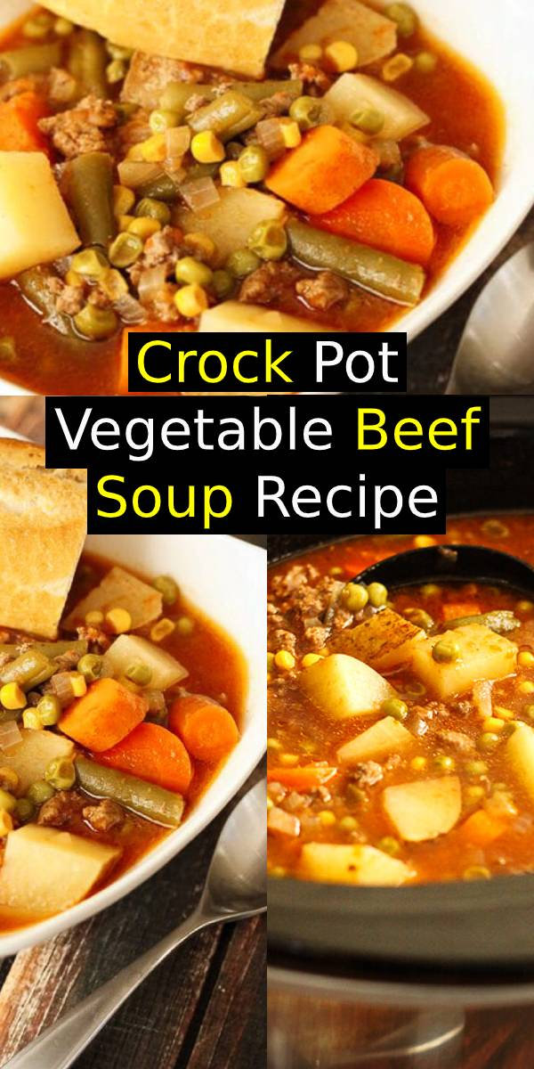 Crock Pot Vegetable Beef Soup is a warm, delightful bowl of comfort food. One of the easiest soups to throw together and always a family favorite! #vegetable #beef #soup #slowcooker #dinner #crockpot