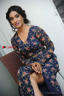 Kannada Actress Krushi Stills in Floral Blue Dress at IRA Movie Press Meet  0010.jpg