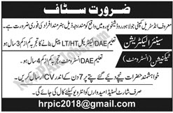 Private Jobs in Sheikhupura SKP for Senior Electrician, Technician