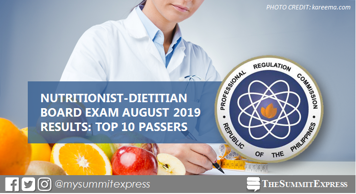 RESULT: August 2019 Nutrition and Dietetics board exam top 10 passers