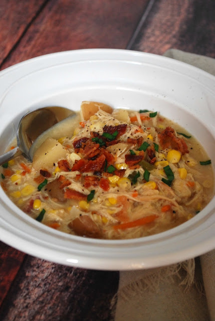 Crock Pot Chicken Corn Chowder Recipe - clean eating at its best! Perfect soup for late summer and early fall!