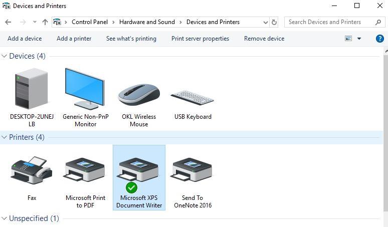 Setting default printer danm XPS document writer