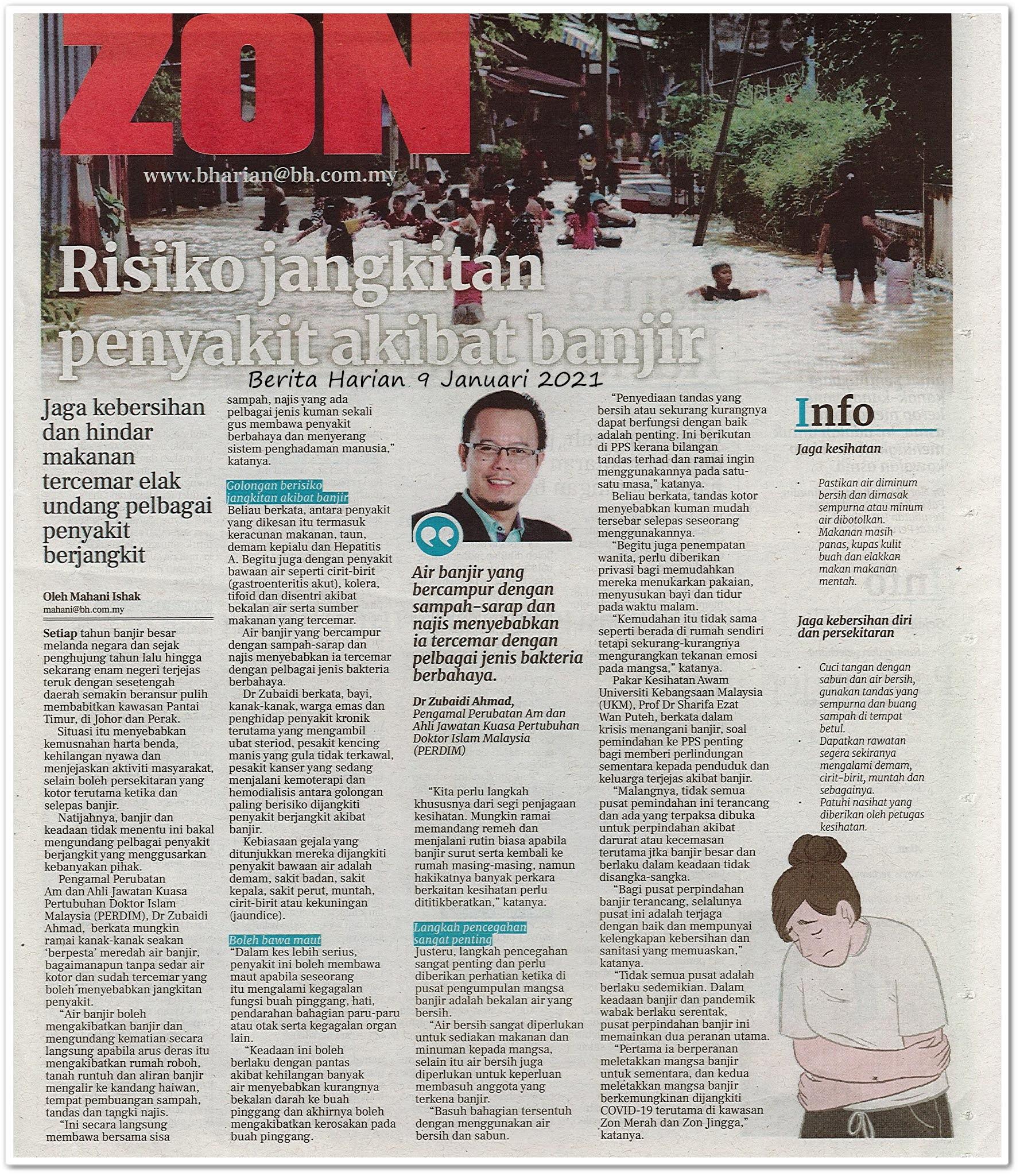 Risiko jangkitan penyakit akibat banjir - Keratan akhbar Berita Harian 9 Januari 2021