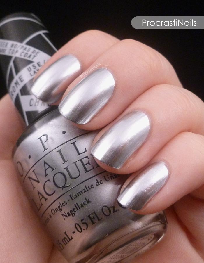 Swatch of OPI Push and Shove chrome nail polish
