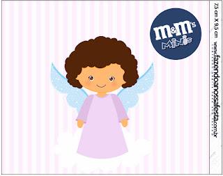 Brunette Angel Girl, Free Printable M&M Candy Bar Labels.