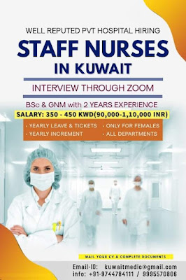 Urgently Required Staff Nurses (F) for Reputed Private Hospitals in Kuwait
