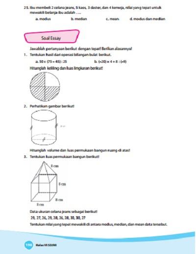 kunci jawaban soal matematika kelas 6 buku senang belajar matematika