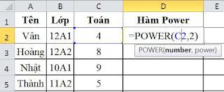 tinhoccoban.net - Ví dụ về Hàm Power
