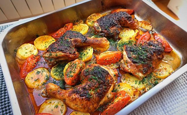 POLLO 🍗 asado, estilo TURCO 🍽️ (con papas y cebolla)