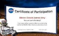 Steven's name is engraved on a chip attached to the rover. Mission status active.