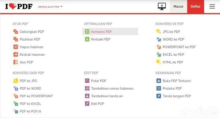 Memperkecil ukuran file PDF dengan iLovePDF