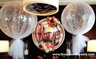 LOVE balloon script and confetti balloons bridal shower