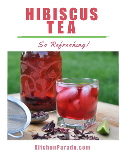 Hibiscus Tea with Ginger & Vanilla, either cold or hot ♥ KitchenParade.com, for anyone who wants to drink more water, great for Weight Watchers, Medifast and other diet programs.