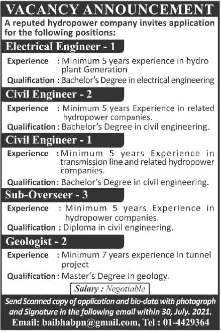 Baibhav Power Nepal Job Vacancy Announcement for Various Post