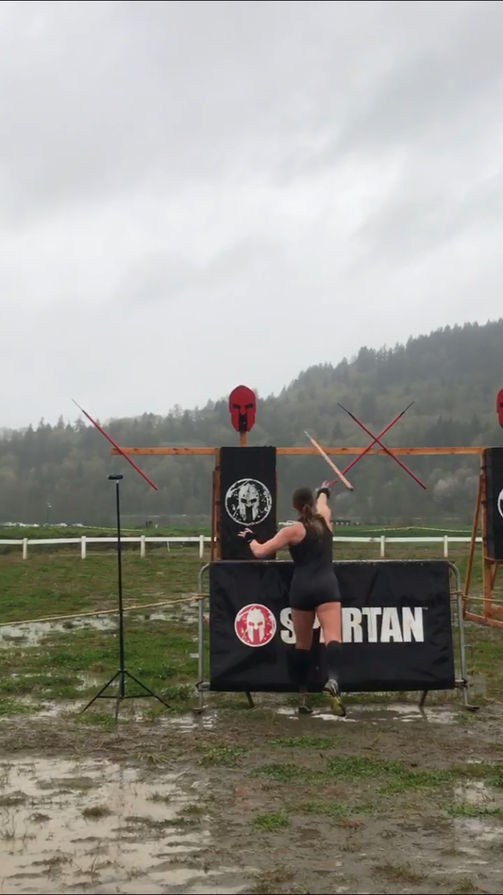 Seattle Spartan Super Race, Spartan Elite Racer, Spartan Women, Spear Throw Obstacle