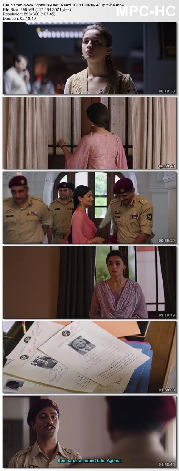 Screenshots Download Raazi (2018) BluRay 480p & 3GP Subtitle Indonesia