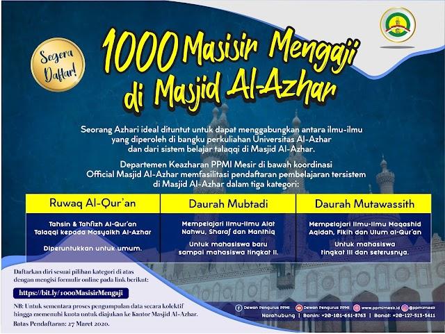 Kabar Gembira! Dibuka Pendaftaran Program 1000 Masisir Mengaji di Masjid Al-Azhar