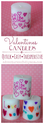 Quick, easy and inexpensive Valentines candle gift