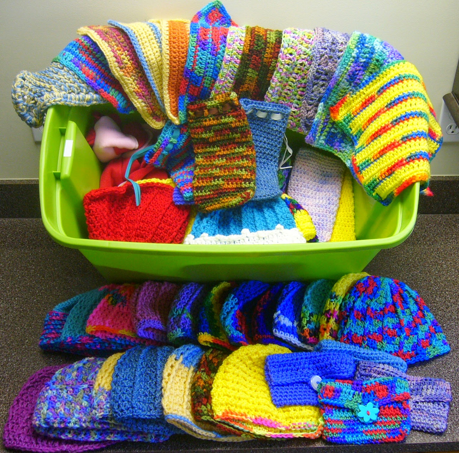 Crochet donations to Operation Christmas Child shoeboxes.