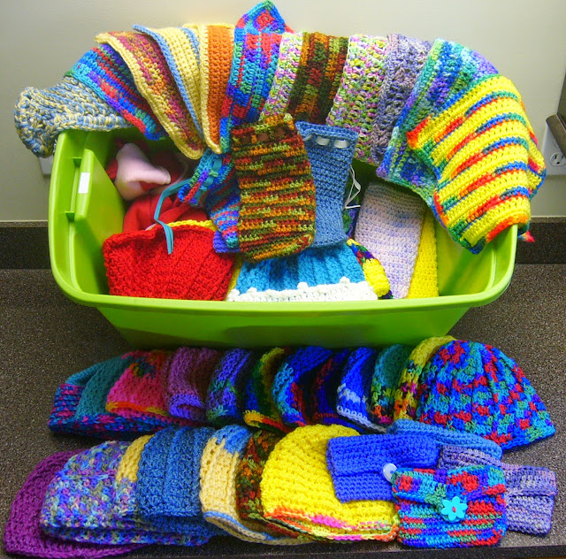 Crocheted items donated as fillers for Operation Christmas Child shoeboxes.