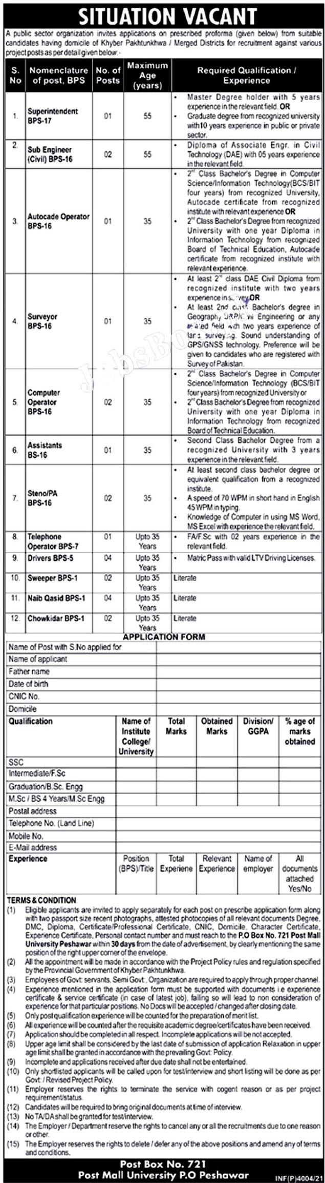 Public Sector Organization Latest Jobs 2021 – PO Box No 741 Peshawar Latest Jobs- Download  Application Form